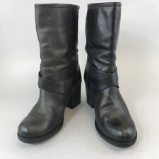 Clarks UK5.5D Black Brown Distressed Leather Ankle Pull On Buckle Biker Boots