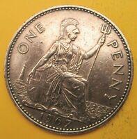 1967 one penny coin QUEEN ELIZABETH II slight wear  Polished
