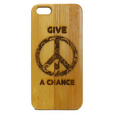 BAMBOO Case made for iPhone 5/5S & SE phones with Give Peace a Chance Art Design