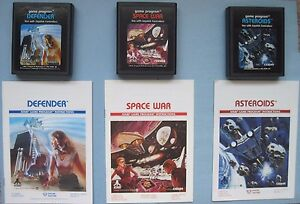 Lot 3 Atari 2600 Games Manuals Asteroids Defender Space War *Cleaned & Tested*
