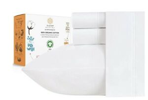 100% Organic Cotton Bed Sheets- Crisp and Cooling Percale Weave, 3 pc sheet set