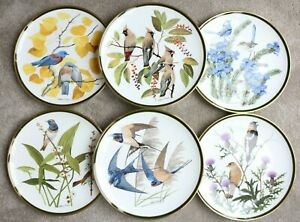 FRANKLIN PORCELAIN by Wedgwood Set of 6 Songbirds Plates - Mint Condition 27cm