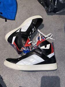 FENDI Monster Eye Leather Hi Top Sneakers Trainers Size 39 Uk 6