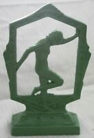 Frankart style flapper nymph art deco in green lamp base body made in the USA