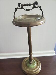 """Vintage 25""""  Floor Standing Pedestal Smoker's Ashtray  Glass Insert"""