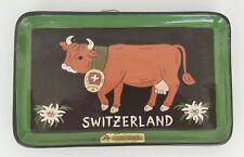 VINTAGE SWITZERLAND SWISS RHEINFELDER CERAMIC POTTERY PLATE TRAY HAND MADE COW