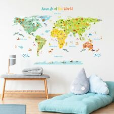 Decowall Animals of the World map Nursery Kids Wall Stickers Decals DL-1815