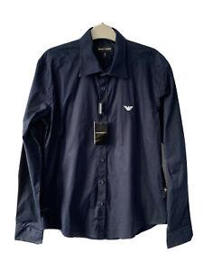Emporio Armani Navy Blue Cotton Long Sleeve Button Up Shirt Cotton Men L