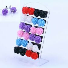 Cheap Acrylic Nickel Earring Mixed Color 12 Pairs Resin Rose Flower Ear Stud
