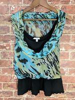 Cache XS Layered Top Blouse Silk Blend Black Blue Metallic Sleeveless