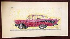 OUTSIDER ART 1957 Chevrolet car pointillist signed Bruner 12.5 x 6 in. tempera