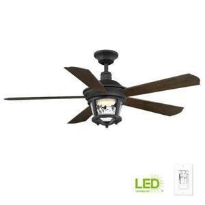 "Progress Lighting Smyrna 52"" LED Black Indoor/Outdoor Ceiling Fan with Light Kit"