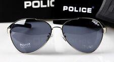 Hot New Style Hommes Lunettes de soleil police conduite Lunettes Bleu Lentille Argent Cadre
