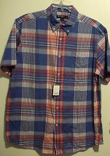 Sharp CREMIEUX 38 Red White Blue Plaid Cotton Short Sleeve Shirt L NEW! $69.50