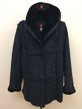 EUC Dennis Basso Women`s Size S Black Faux Fur Buttons Shawl Collar Coat Jacket