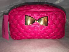 BETSEY JOHNSON NWT Pink Cosmetic Pouch Make Up Bag Valentine Fushia Loaf