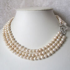 "17-19"" 6-8mm 3Row White Freshwater Pearl Necklace Wedding Jewelry FR"