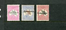 FIRST WM SPECIMEN OVERPRINT SET OF 3 FINE MINT