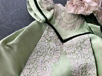 Vintage Dolls Clothes Green Lace Dress Flowered Bonnet Hat For Antique Doll