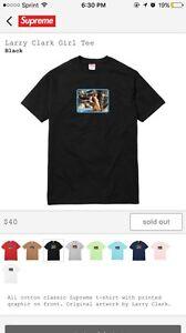 "Supreme Larry Clark ""Girl"" T Shirt Black Size Medium 100% Authentic Guaranteed"