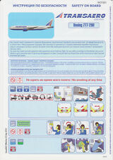 Transaero Safety Card Boeing 777-200 Issue:2
