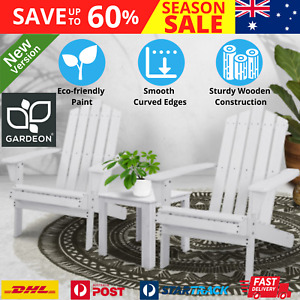 White Adirondack Cape Cod Outdoor Wooden Chairs Pair Side Table 3pc Set Hamptons
