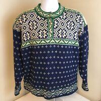 LL L.L. Bean Womens Wool Blend Sweater Nordic Fair Isle USA Made Large Geometric
