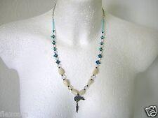 Madreperla, turquesa, aurora boreal, vaso de cristal cadena colgante acreditado plata