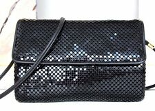 WHITING AND DAVIS SHINY BLACK METAL MESH EVENING SHOULDER BAG HANDBAG ENVELOPE