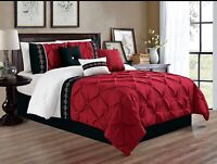 7Pc FULL Size Burgundy Red Black White Double-Needle Pinch Pleat Comforter Set
