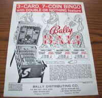 Bally BALI Original NOS Bingo Game Pinball Machine Promo Sales Flyer 1974