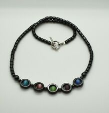 """17.5"""" Magnetic Hematite Fashion Statement Necklace W/ Multi Color Cats Eye Beads"""