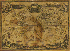 world map atlas globe earth compass A1 Print  poster   vintage