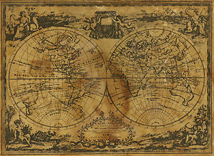 "world map atlas globe earth compass canvas print 36"""