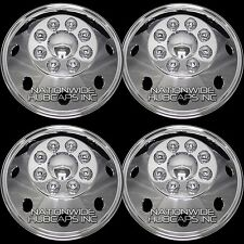 "4 CHROME 16"" RV MOTORHOME Dual Wheel Simulators Rim Liner Covers Hubs Van Truck"