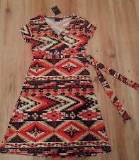 BNWT~ NEXT ~ Size 8 ~ Aztec print geo dress orange/red/black (36 Euro, 4US) New