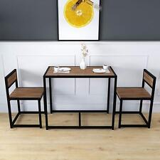 Clive 3-piece Dining Table & Chairs Set in Walnut Colour With Black Steel Frame