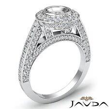 1.25 Carat Diamond Engagement Round Semi Mount Halo Pave Bezel Ring Platinum 950