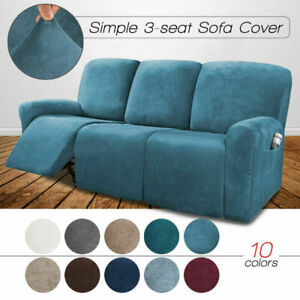 8PCS Recliner Sofa Covers Velvet Stretch Reclining Couch Covers for 3 Seater New