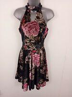 WOMENS SELECT PRETTY SUN DRESS FLOWER PRINTED SLEEVELESS SHORT DRESS BLACK 12