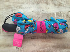 BETSEY JOHNSON BLUE CUPCAKE FLOWER LIPS HEARTS COLORFUL AUTO OPEN UMBRELLA NWT