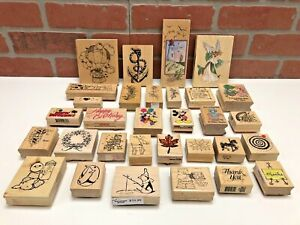 Vintage Lot 31 Disney Rubber Stamp Collection Mickey Mouse Lighthouse Fairy Xmas