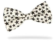 PRICED TO CLEAR! Mens Pre-Tied Adjustable Stars Polyester Satin Bow Tie White