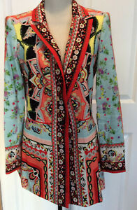 Alice + Olivia Women's Blazer NWT, teal/red multi-color floral, long, Size L