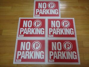 """5X- Red & White Flexible Plastic """"NO PARKING"""" Sign 9 x 12 Inch US Seller"""
