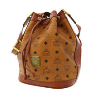 MCM Logos Pattern Drawstring Shoulder Bag Brown Coated Canvas Authentic #BB679 W