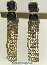 Yellow Gold Sterling Silver Blue & White Sapphire Long Dangle Chandelier Earring