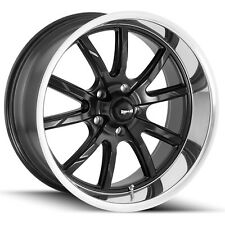 "Staggered Ridler 650 Front:18x8,Rear:18x9.5 5x4.5"" +0mm Black Wheels Rims"