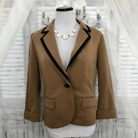 Catherine Malandrino Small One Button 3/4 Sleeve Blazer Knit Brown Black B34