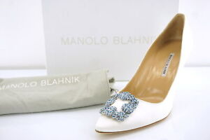 Manolo Blahnik Hangisi Jeweled 90mm Pumps Sz 41 11 White Satin Bride blue